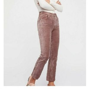 FREE PEOPLE velvet high waisted crop flare pants